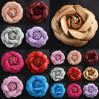PU Leather Camellia Brooch Vintage Classic Corsage Pin Flower  DIY Decoration image