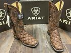 Men's Deepwater Cafe Big Bass square toe Piraruccu fish leather boot by Ariat.