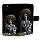 Mexican Gangsta Sugar Skull Girl Smoke Leather Magnetic Clasp Phone Case Cover