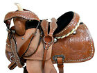 BARREL SADDLE WESTERN RACING HORSE CUSTOM LEATHER PLEASURE TOOLED TACK SET 15 16