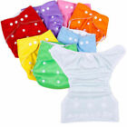 5 Diapers+ 5 INSERTS Adjustable Reusable Lot Baby Washable Cloth Diaper Covers