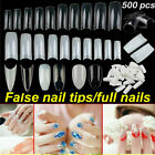 500 French Acrylic False Nail Tips Stiletto Almond Coffin Natural Clear UV Gel