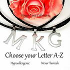 Initial Letter Pendant Chain Necklace Stainless Steel Men or Women
