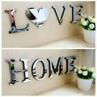 4 Letters Love Home Mirror Tiles Wall Sticker Self-adhesive Stick On Art Decals