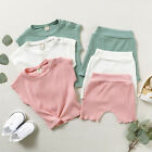 2PCS Toddler Kids Baby Girls Boys Solid T shirt Tops Shorts Pants Outfits Set US