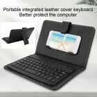"""Portable Leather Case Bluetooth 3.0 Keyboard for 4.5""""-6.8"""" Android/iOS Cellphone"""