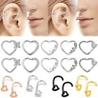 Surgical Steel Heart Nose Ring Ear Stud Bone Bar Screw Pin Body Piercing 18/20g image