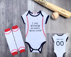 Personalized Baseball Bodysuit Romper Outfit Shirt Set Watching With Daddy