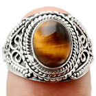 Bali Design - Tiger Eye - African 925 Silver Ring Jewelry s.7.5 SDR66650