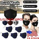Reusable Cotton Face Cover PM2.5 Mask Activated Carbon W/Filter Washable Outdoor