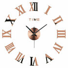3D DIY Large Wall Clock Roman Numerals Luxury Mirror Sticker Home Decor Kid Room