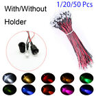 Holder 12V 20cm Cable Pre-Wired 5mm LED Light multi-color Emitting Diode