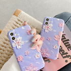 For iPhone 11 Pro Max XS X 8 7 SE 2020 3D Art Flower Pattern Silicone Case Cover