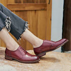 Handmade Women's Genuine Burgundy Leather Wingtip Brogue Lace Up Oxford Shoes