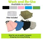 5x Face Masks Mixed Colours + 10x Filter Refill Washable Re-usable Cloth
