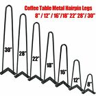 Set of 4 Coffee Table Metal Hairpin Legs Solid Iron Bar Black 8
