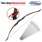 57in Takedown Recurve Bow & 12pk Arrows Set RH/LH 30/40lbs Hunting Archery Train