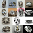 Vintage Men 925 Silver Handmade Coin Retro Morgan Carved Rings Jewelry Size 6-13