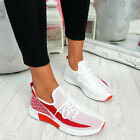 WOMENS LADIES LACE UP MESH KNIT TRAINERS SPORT SNEAKERS WOMEN PARTY SHOES