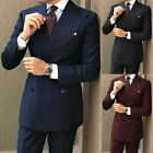 Men Wide Lapel Double Breasted Formal Wedding Party Wear Groom Suits Coat Pant