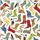Whoa Girl! Bootery White Multi Western Cowboy Boots Cotton Fabric Loralie Design