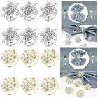 6pcs Snowflake Napkin Rings Christmas Party Banquet Serviette Holder Table Decor