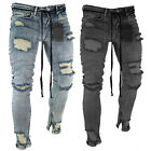 Mens Skinny Jeans Ripped Slim Stretch Denim Distress Frayed Biker Pants Retro