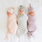2Pcs Newborn Infant Baby Boy Girl Swaddle Blanket Sleeping Wrap Hat Sets