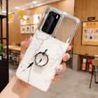 For Huawei P40 Pro P40 Lite Marble Pattern TPU Case Mirror Back Cover with Ring