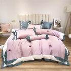 Luxury Egypt Cotton Strawberry Ruffles Bedding Set Embroidery Duvet Cover Sheet