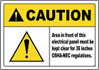 KEEP AREA IN FRONT OF ELECTRICAL PANEL CLEAR 36 IN | Adhesive Vinyl Sign Decal