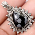 Handcrafted - Snow Flake Obsidian 925 Sterling Silver Pendant Jewelry SDP48051