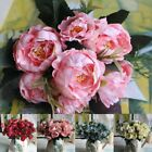 5 Heads Silk Peony Artificial Flowers Fake Rose Bouquet Home Wedding Party Decor