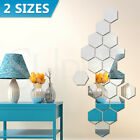12/24pcs Mirror Hexagon Wall Stickers Removable 3d Acrylic Art Diy Home Decor Au