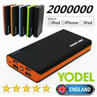 New 2000000mAh Portable Emergency Power Bank 2 USB Battery Charger With LED LCD