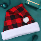 New Year Santa Claus Costume Christmas Plaid Hat Gift for Kids Home Decor Eager