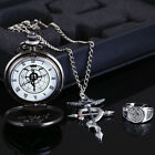 Fullmetal Alchemist Edward Elric Pocket Watch Cosplay Necklace Ring Props Set