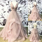 Dusty Pink Wedding Dresses Deep V-neck Tulle Bridal Gown with Ruffles Backless