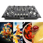 """30""""/23"""" Built-in 5 Burner Gas Hob LPG/NG Cooktops Glass Kitchen Cook Cooking"""