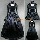 Vintage Victorian Gothic Steampunk Party Dress Long Black Elegant Evening Dress