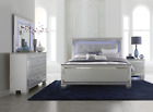 NEW Silver LED Queen or King 4PC Bedroom Set Modern Furniture Bed/D/M/N