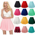 Women Stretch High Waist Short Plain Skater Flared Pleated Mini Cosplay Skirt US