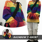 Lady Rainbow Stripe T-shirt Loose Casual Long Sleeve Top Harajuku Fashion Baggy