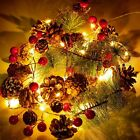 Christmas Garland Fairy String Lights Red Berry with Pine Cone Mantel Decoration