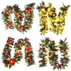 9FT Pre Lit Christmas Garland with Lights Snow Frosted Pine Cones/Berry Decor
