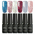 LILYCUTE 6Pcs/Set Glitter Nail UV Gel Polish Soak Off UV LED Top Base Coat