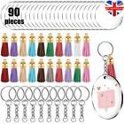 90Pcs Clear Acrylic Circle Discs Keychain DIY Kit Blanks Tassel Pendant Key Ring