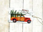 Hang Tags RED WOODY STATION WAGON MERRY CHRISTMAS TAGS T 89 Gift Tags