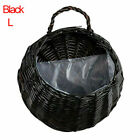 Wall Fence Hanging Planter Plant Flower Pots Handmade Rattan Basket Garden Patio