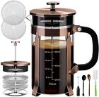 Veken French Press Coffee Maker espresso 34 oz 304 Stainless Steel Brown Durable